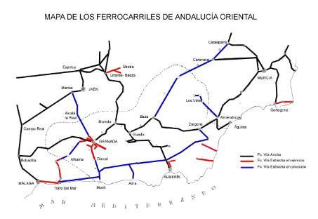 Mapa de los ferrocarriles de Andalucía Oriental