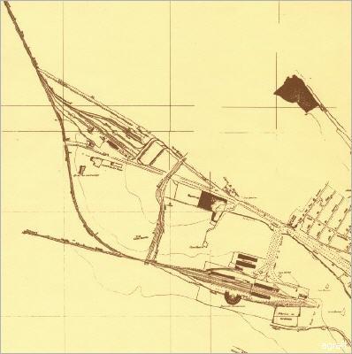 Plano de las estaciones ferroviarias de Granada y el ramal de enlace